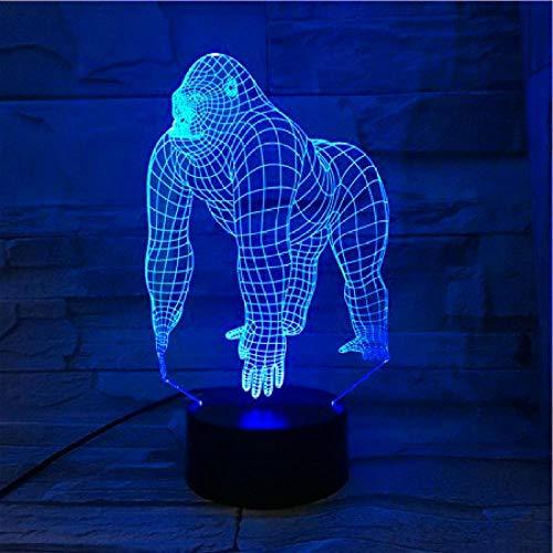 Luz nocturna 3D de orangután con lámpara 3D LAVA LED de noche para niños dormitorio decoración de gorila juvenil juguete de Navidad regalo de cumpleaños escritorio lámpara de mesa