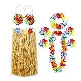 ThinkMax 8 Piezas Falda Hawaiana Mujer con guirnaldas de Flores Collar Diadema Pulseras Tobilleras para Tema de Playa Favor de Partido