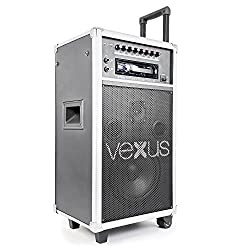 Vexus ST110 mobile PA system mobile amplifier as trolley karaoke system with microphone and remote control (250 W, CD player SD USB port MP3, echo effect and delay effect) black