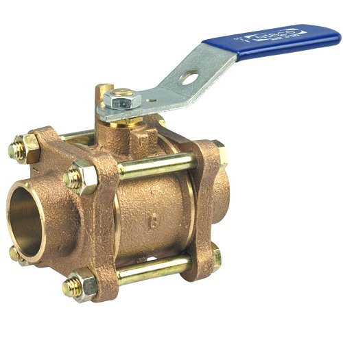 NIBCO S-595-Y Cast Bronze Ball Valve, Three-Piece, Lever Handle, 1' Female Solder Cup