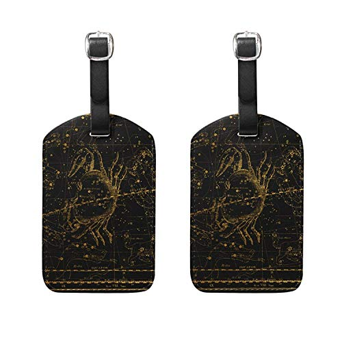 Set of 2 Luggage Tags World Map Celestial Atlas Suitcase Labels Travel Accessory