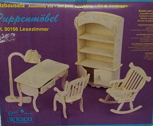 Weico 80166 Set de madera para montar con estante, escritorio, silla, mecedora y lámpara para casa de muñecas, escala 1/12