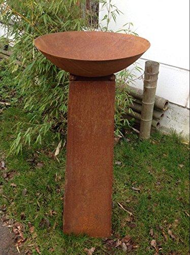 Zen roest, metaal, tuindecoratie, plantenschaal vuurschaal 60 cm vuurrand met conus standaard H80 cm