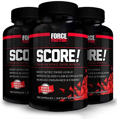 Force Factor Score Nitric Oxide Booster Pills for Men with L Citrulline Black 360 Count 3 Pack product image