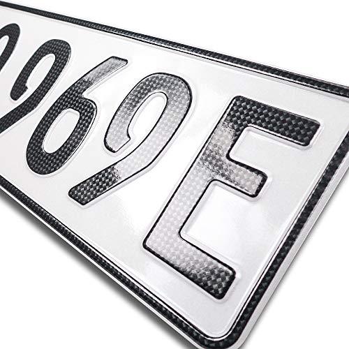 schildEVO 1 Carbon Kfz E-Kennzeichen | OFFIZIELL amtliche Nummernschilder | Elektroauto & Hybrid Auto | Autokennzeichen Elektro