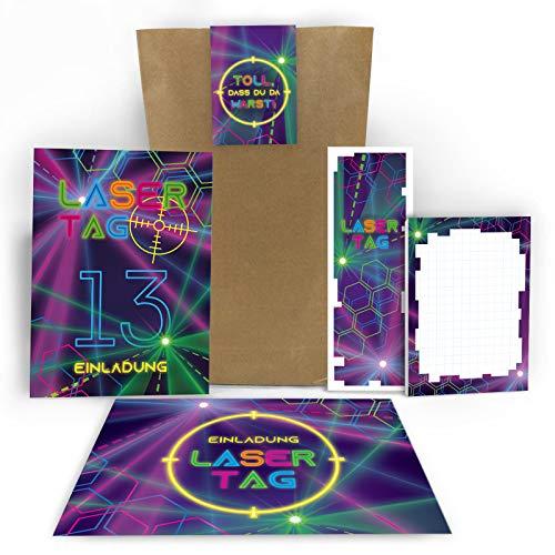 6 Einladungskarten zum 13. Geburtstag dreizehnte Kindergeburtstag Lasertag Party Mädchen Jungen / Laser Tag incl. 6 Umschläge, 6 Tüten, 6 Aufkleber, 6 Lesezeichen, 6 Blöcke