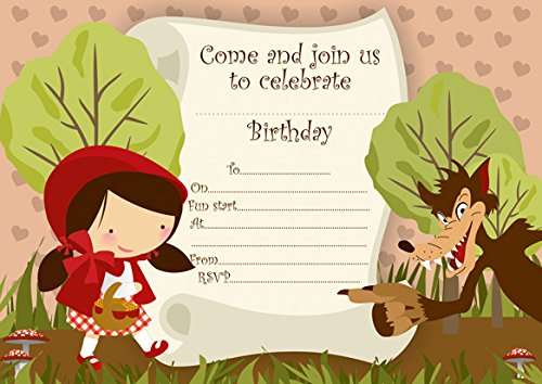 10 x petit chaperon rouge enfants Invitations Fête d'anniversaire