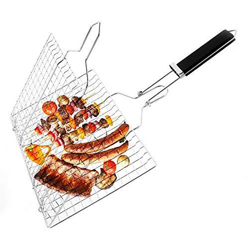ND Fischgrillkorb Faltbarer Edelstahl Grillkorb mit abnehmbarem Griff Backpinsel und Aufbewahrungstasche für Fisch Gemüse Garnelen (A)