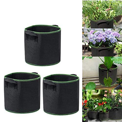3-Pack 1 Gallon grow bags-Non-woven fabric-Sturdy Handles-Portable Planter Bags-Reusable pots