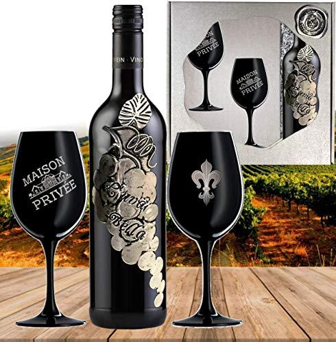 L'uva Bella inkl. 2 schwarzen Kristall-Weingläsern | Rotwein Geschenk-set für Partner, Freunde und Liebende Edel-Cuvée aus Italien Silber-Hochzeit Geschenkset