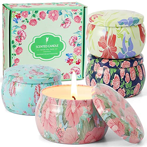 DERDUFT Scented Candles, Soy Wax Candles Gift Set, Aromatherapy Candles for Birthday, Peony, Nectarine Blossom and Honey, Earl Gray Tea and Tuberose