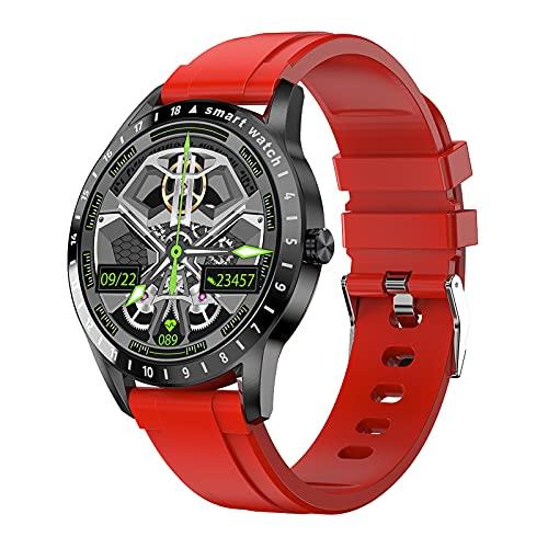 Smartwatch, Reloj Inteligente Hombre Mujer IP68 con Pulsómetro, 1.39 Inch Smartwatch Presión Arterial Monitor de Sueño GPS Podómetro Pulsera Actividad Inteligente Compatible con iOS y Android,Rojo