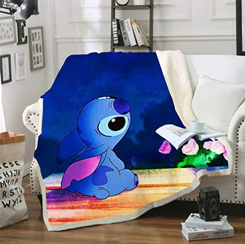 DFTY Lilo & Stitch Decke Jette de Jet Weich und warm Decke aus Mikrofleece, ultraweich für Haus Kinder Präsentation, 6, 150x200CM