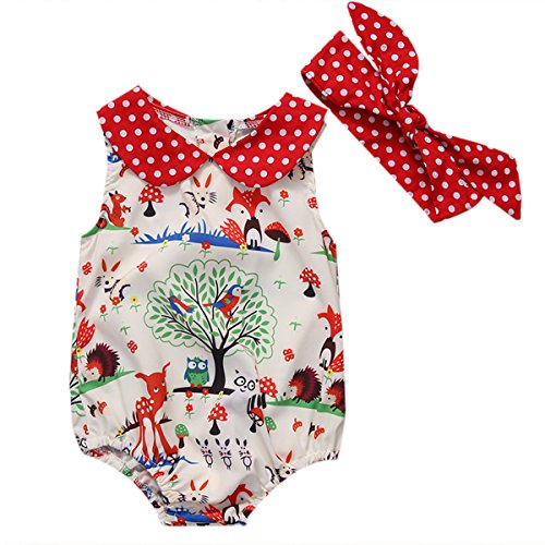 Price comparison product image Baby Newborn Infant Girl Fox Romper Jumpsuit Headband Summer Clothes Outfit (0-6 M) Beige
