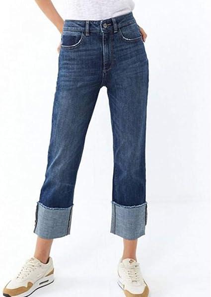 Kaiinz Vaqueros Jeans Street Loose Fit Jeans Rectos Mujer Cintura Media Pierna Ancha Pantalones De Mezclilla Sin Estiramiento Solido Casual Jeans Mujer Amazon Com Mx Deportes Y Aire Libre