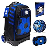 Scuola Trolley Jack-2WD F.C. Inter negro y azul con mochila desmontable Seven + Estuche Quick Case Zip + Diario 2021/2022 + regalo balón y llavero Fútbol