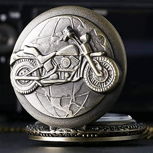 SHKUU Antiguo Motocicleta Moto Reloj Bolsillo Collar Colgante Hombres Regalo