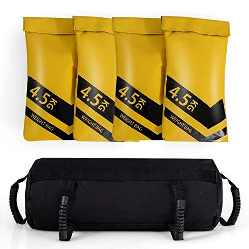 COSTWAY 18KG Sandbag, Power Bag inkl. 4 x 4,5 kg Sandsack, Gewichtssack mit 6 Griffen, Core Bag aus Oxford, Trainingssandsack zum Gewichtheben, Training und Fitness