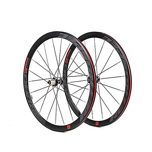MAIKONG Ultraleichter 700C-Rennrad-Laufradsatz aus Aluminiumlegierung mit 40 mm Felgenabdichtung Aluminiumlegierungs-Nabe Buntes reflektierendes Laufrad-Set Vier Flache Palin-Speichen,Rot