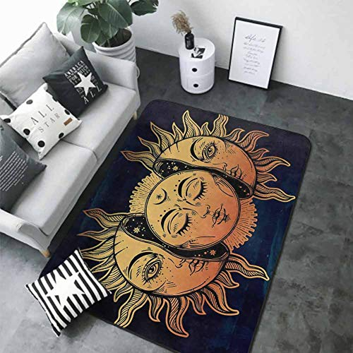 """Office Chair Floor Mat Foot Pad Psychedelic,Moon and Sun with Many Fractal Faces Celestial Energy Mystic Art Print,Golden Dark Blue 60""""x 96"""" Best Floor mats"""
