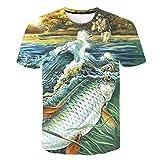RelaxLife Hombre 3D Estampado Camiseta Camiseta De Verano para Hombres Nuevos Camiseta con Estampado De Peces En 3D Camiseta Divertida para Pesca...