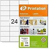 Etiquetas adhesivas de 70 x 37 mm, resistentes a la intemperie, color blanco mate, DIN A4, 240 etiquetas autoadhesivas imprimibles con impresora láser