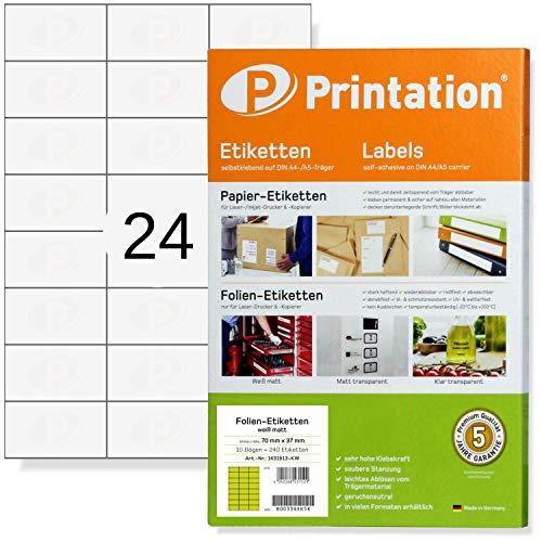 Etiketten 70 x 37 mm wetterfest weiß matt auf DIN A4 Bogen - 240 Folienetiketten 70x37 selbstklebend bedruckbar mit Laser Drucker