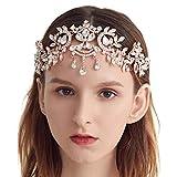 Bella Vogue Crown, Tiara, Vintage Crystal Diamond Bride Bridal Wedding Hair Head Band Wear Rhinestone Jewelry Headdress Headband Tiara Coronal Big Crown Pageant (Model-421-Rose)