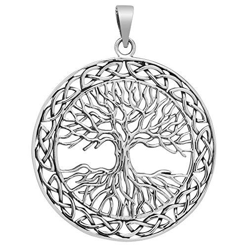 Weltenbaum Anhänger Silber 925 Baum des Lebens Lebensbaum Yggdrasil 40mm Gross und Flach