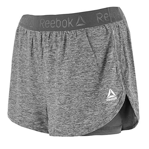 Reebok Women's Cardio Running Shorts w/Built in Compression Quietshade Heather M