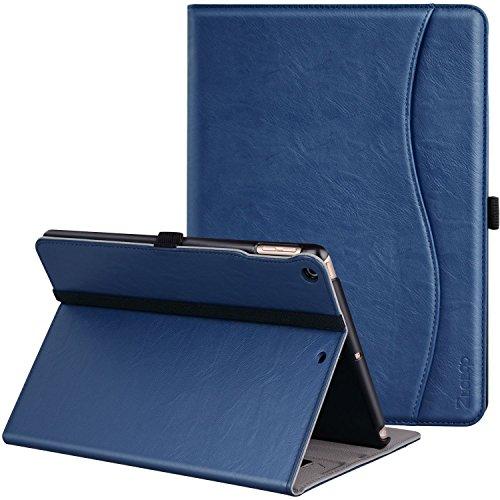 ZtotopCase Custodia per iPad 9.7 2018/2017(6/5 Generazione)/ Air 2/1, Cuoio Premium PU Affari Sottile Cover per iPad Tablet con Auto Wake & Sleep Funzione e Slot per schede Documenti,Blu Navy
