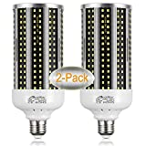 2-Pack(500W Equivalent)LED Corn Light Bulb 6000 Lumen 6500K 60W Large Area Cool Daylight White E26/E27 Medium Base for Outdoor Indoor Garage Warehouse Factory Workshop Street Backyard New Upgraded