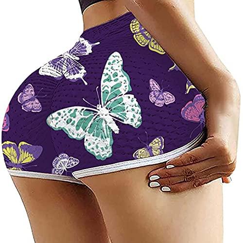 Pantalones Cortos Yoga Mujer De ImpresióN Fitness Suaves EláSticos Cintura Alta para Reducir Vientre...