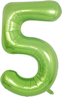 Green Foil 40 in 5 Helium Jumbo Number Balloons, 5th Birthday Decoration Digital Balloon for Women or Men, 5 Year Old Part...