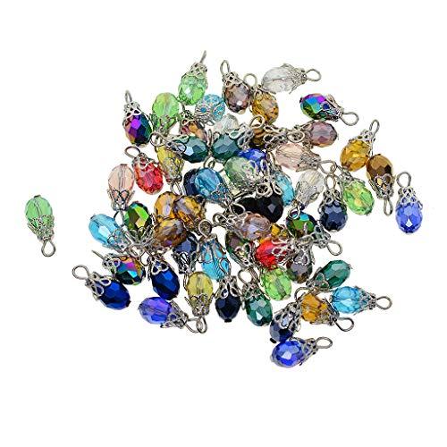 Harilla 50er Pack Verschiedene Farbige Facettierte Drop Glass Charm Perlen, Kristallglas Kronleuchter