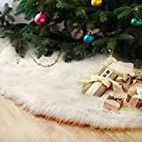 <span class='highlight'><span class='highlight'>FlowersSea</span></span> Christmas Tree Skirts 90cm White Luxury Faux Fur Xmas Tree Ornaments Plush Skirt Holiday Decoration New Year Party