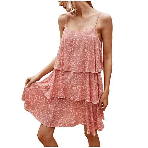 Damen Freizeit Kleid, Sommer Stand Swing ÄRmelloses, Sommerkleid Negligees Minikleid Mini Kleid Blumen Buntfarben Strandkleid BöHmisches Kleid