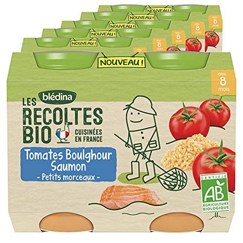 Blédina Les Récoltes Bio, Petits pots bébé Bio dès 8 Mois, Tomates Boulghour Saumon, 2x200g (Packx6)