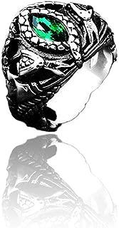 BAVAHA Stainless Steel Nose Viking Amulet Snake Green Eyes Odin 's Symbol for Men Scandinavian Wholesale Ring Jewelry