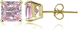 Yellow Gold Flashed Sterling Silver Simulated Gemstone 6mm Princess-cut Stud Earrings