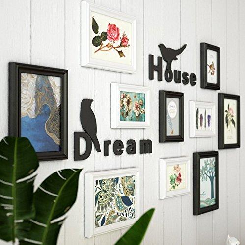 HJKY Photo Frame Wall Set Salon créatif décoration murale affiches papier peint autocollant des Couples Prix chambres à coucher 3D adhésif mural pour montage mural, noir et blanc + alpha-trim