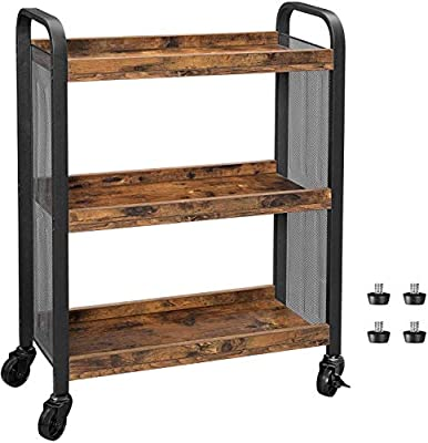 VASAGLE DAINTREE Serving Cart, Slim Kitchen Cart for Narrow Spaces, Rolling Storage Cart and Organizer Utility Cart with Casters Wheels, Easy Assembly, for Kitchen, Bathroom, Rustic Brown ULRC66BX from VASAGLE