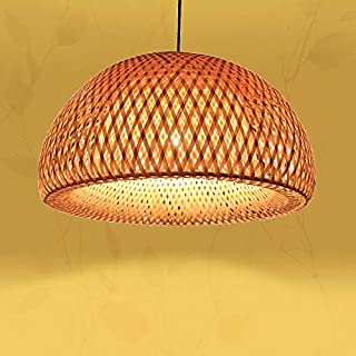 AMBERLIGHTING Country Style Nature Bamboo Half Globe Chandelier Light Dining Kitchen Bar Indoor Hanging Lamp (D30CM)