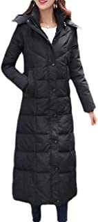Macondoo Women Puffer Winter Outwear Hooded Cotton-Padded Mid-Long Down Jackets
