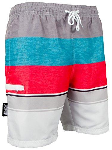 Luvanni Badehose für Herren Schnelltrocknende Badeshorts 600 mit Kordelzug Beachshorts Boardshorts Schwimmhose Männer mit Streifenmuster blau rot grau Streifen Grau Rot XXL