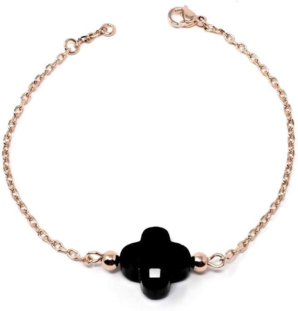 white clover clover charm bracelet black four leaf clover minimalist jewelry clover leaf jewelry Four clover bracelet bangle bracelet
