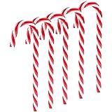 ABSOK 12 bastones de caramelo de plástico para colgar en el árbol de Navidad para fiesta familiar (rojo y blanco)