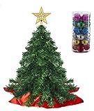 Prextex 56cm Mini-Weihnachtsbaum Set für Tische mit Stern-Baumspitze und hängendem Baumschmuck für DIY-Weihnachtsdekoration