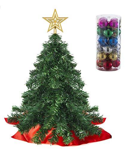 Juego de miniárboles de Navidad Prextex de 55 cm con Adornos Colgantes y Estrella para lo Alto para Decoraciones navideñas caseras