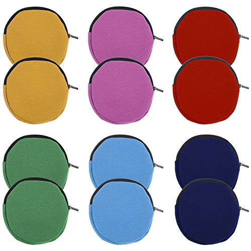 Muka 12-Pack Small Round Pouch Mixed Colors Circle Coin Purse 4 Inches